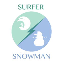 surfer-snowman
