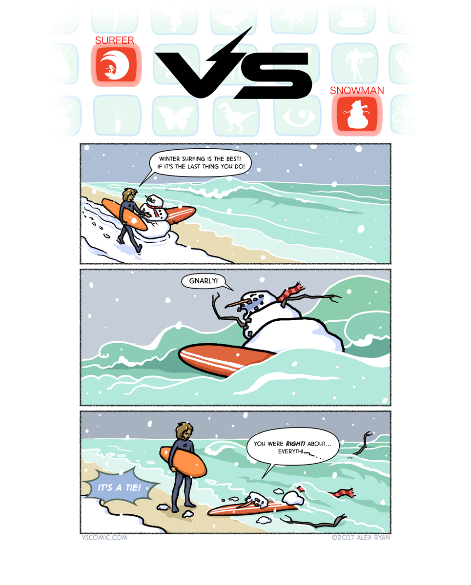 surfer-vs-snowman